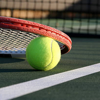 close up of a tennis racket and ball on a tennis court
